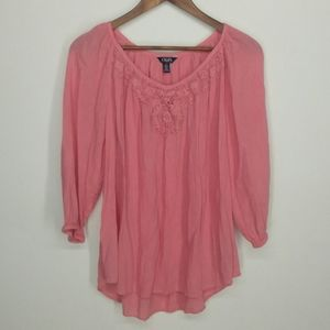Chaps Pop-over Blouse Size Large